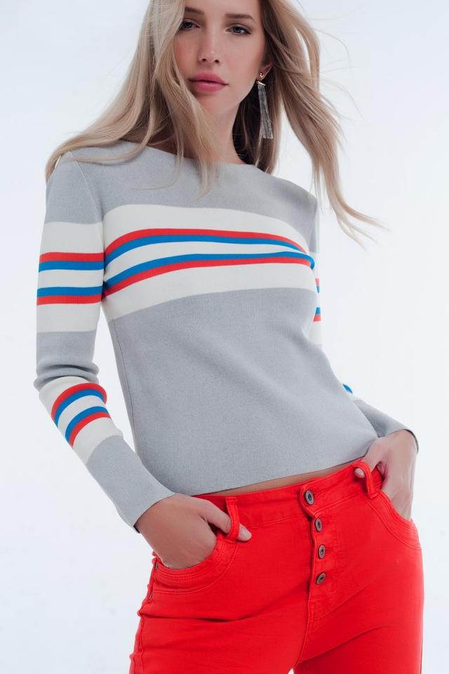 Grey sweater with stripes