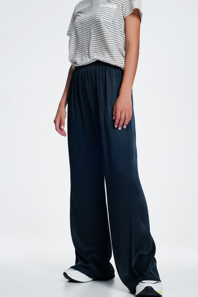 Grey Luxe satin wide pants
