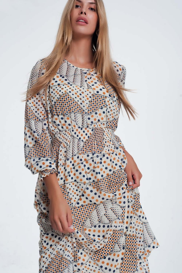 shirred waist and cuff print dress