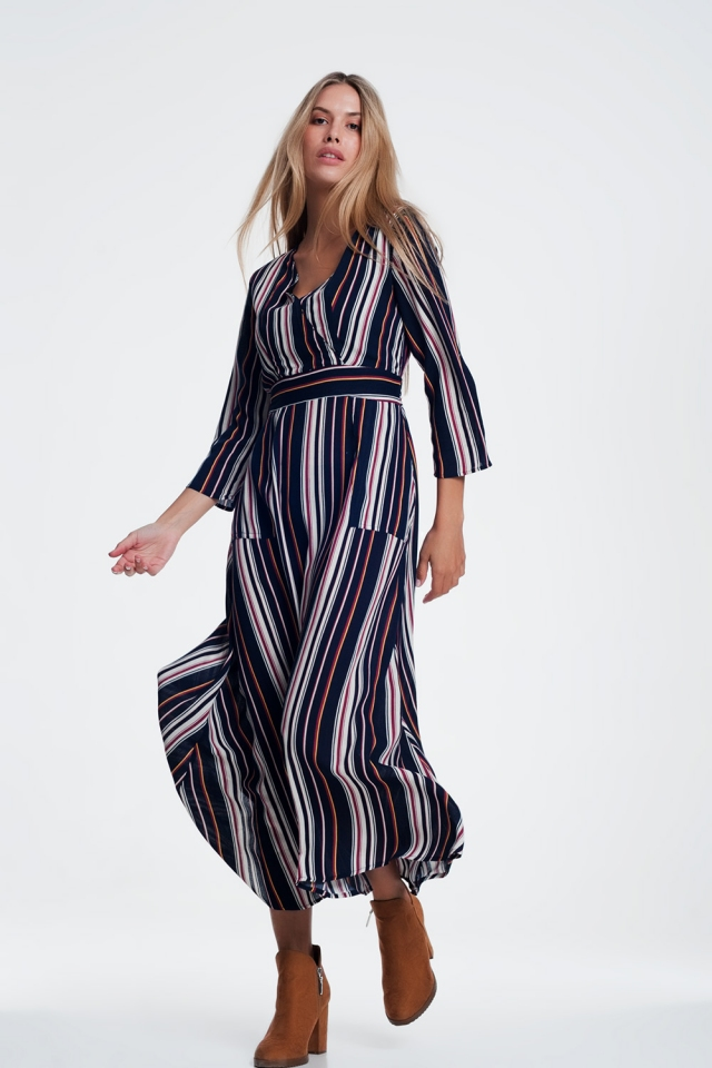 Navy stripe belted midi shirt dress