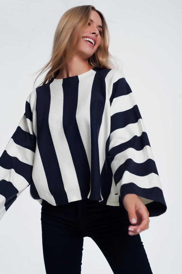 Scoop neck sweater in mono stripe in navy