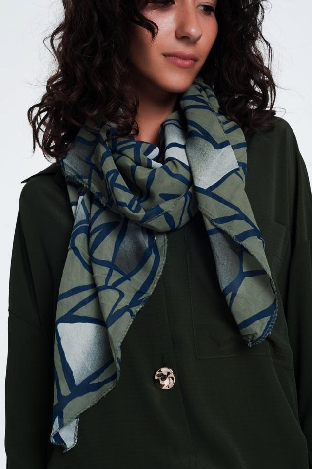 abstrasct print Khaki scarf