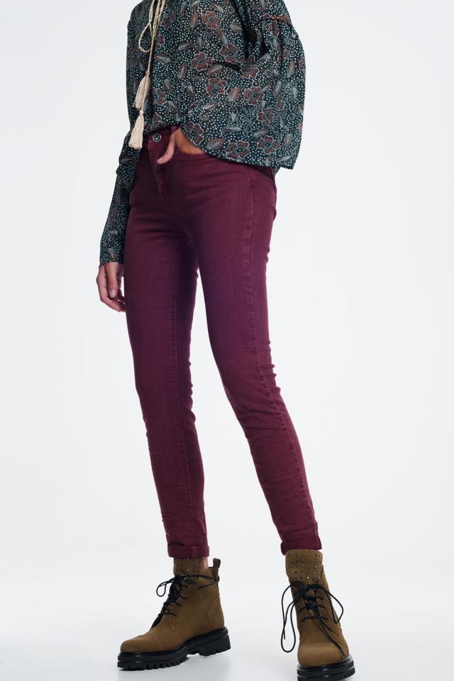 high waist skinny jeans in maroon