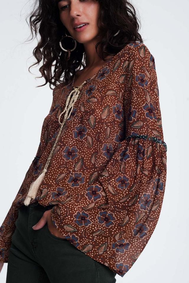 Tassel Detail blouson Sleeve Top in brown