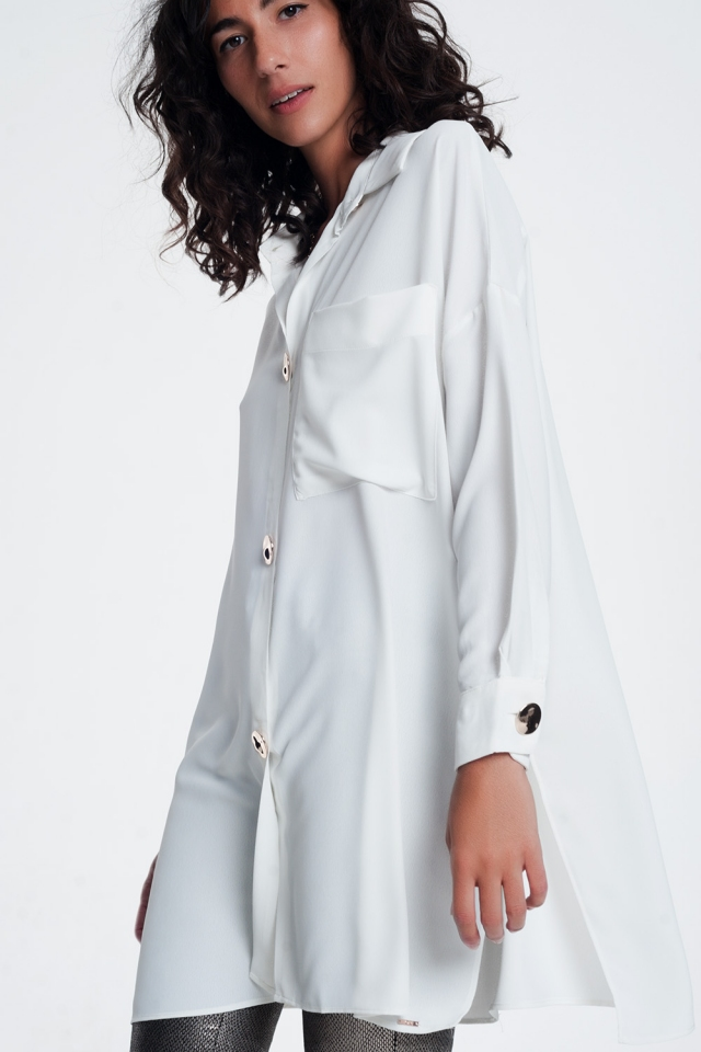 oversized long sleeve shirt with vintage button detail in white