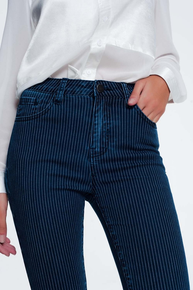 striped skinny blue jeans