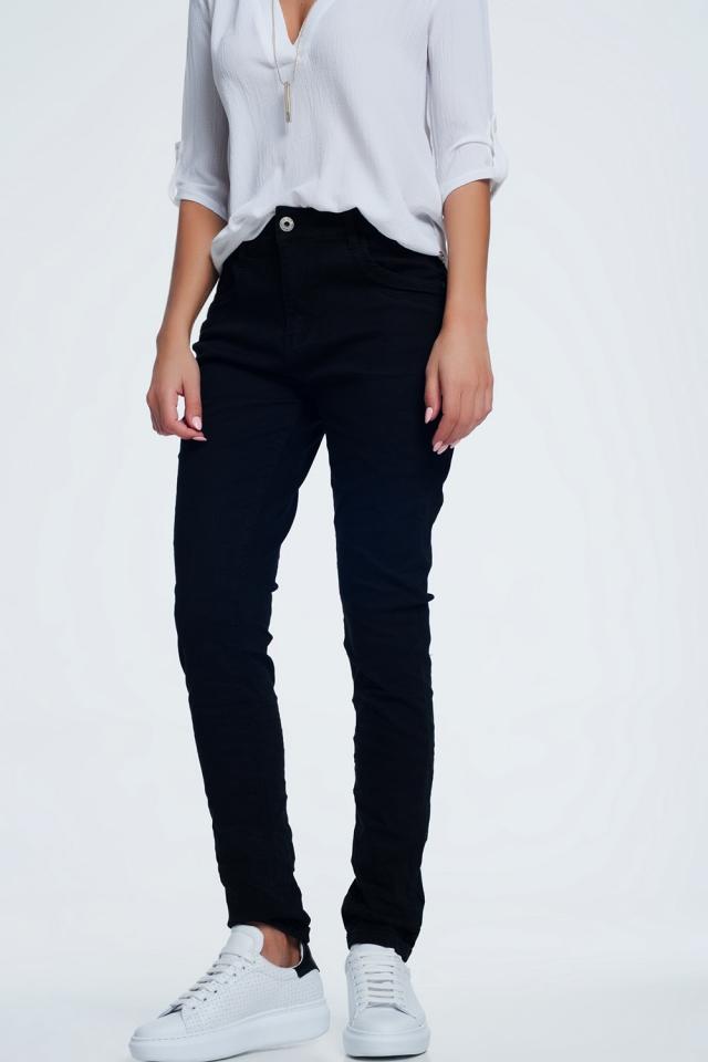 Drop crotch skinny jean in black