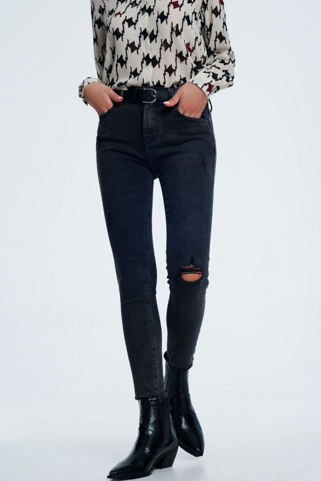 Super skinny jeans in washed black with abrasions