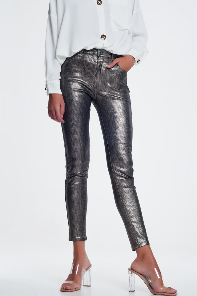 Silver trousers with snake print
