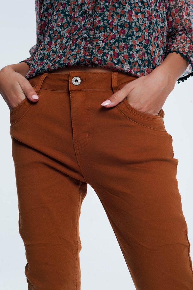 Drop crotch skinny jean in Orange