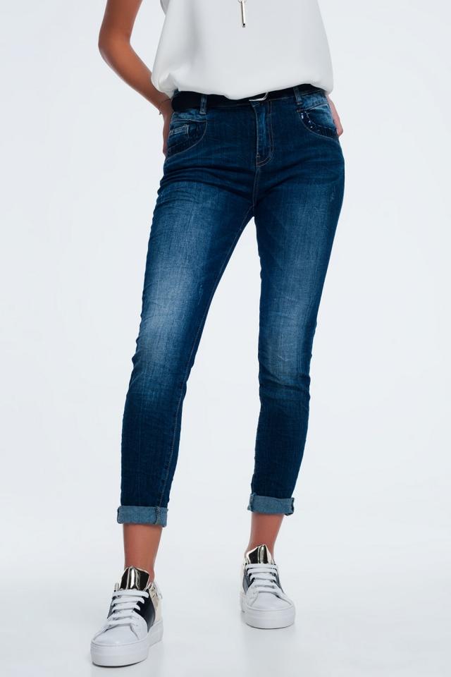 sequin pocket jeans