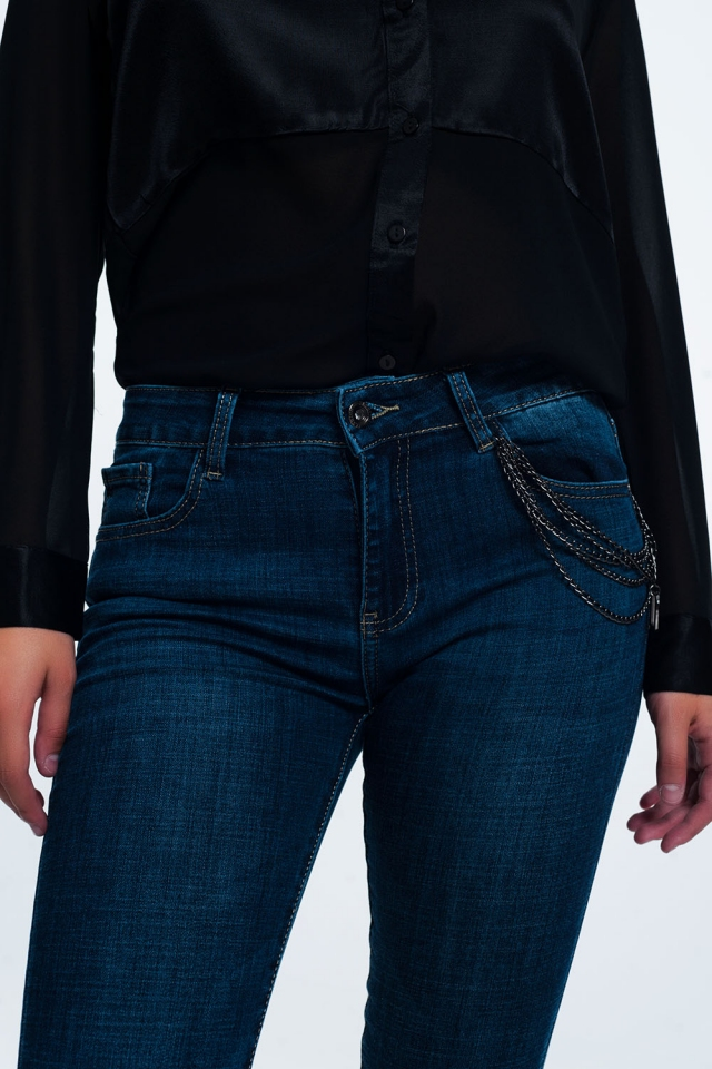 skinny jeans blue with chain