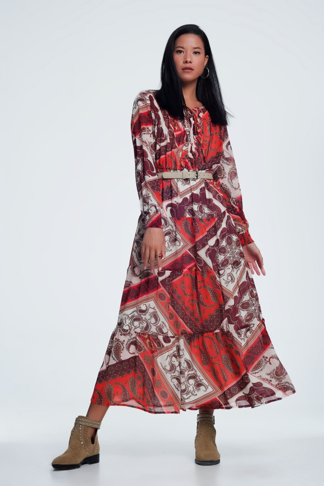 Paisley printed tiered smock maxi dress in orange