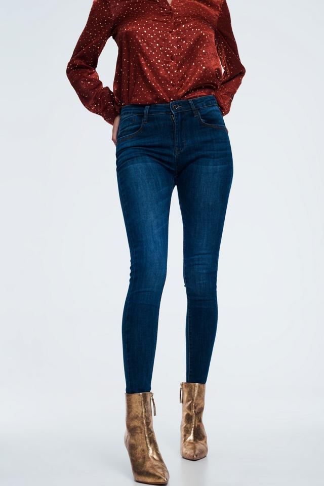 skinny shape up jeans in dark blue