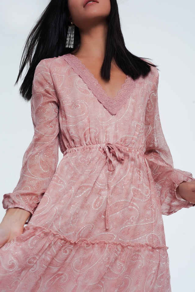 paisley maxi smock dress with volume sleeve in pink