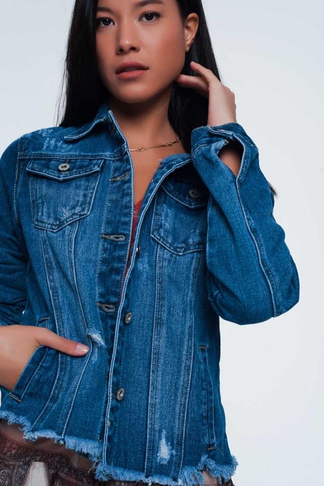 denim jacket with frayed hem