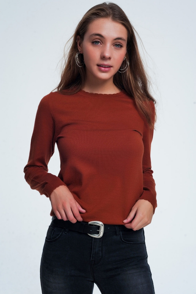 Camel sweatshirt with long sleeves and round neckline
