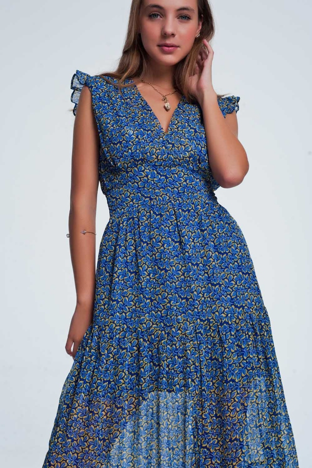Blue frill layered maxi dress in floral print