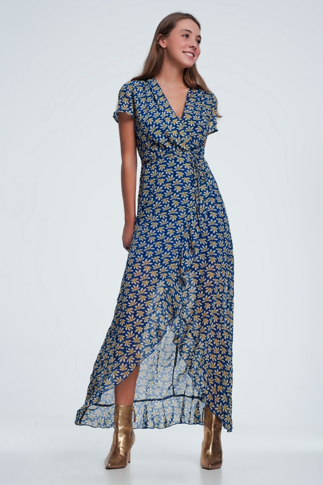 Blue floral print wrap midi dress with ruffle