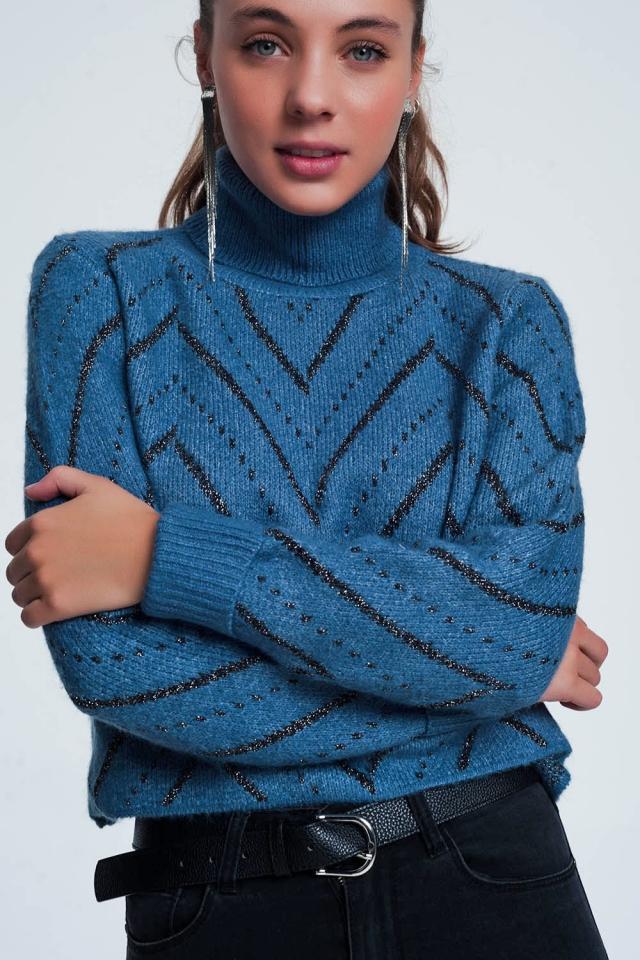 Woven blue turtleneck sweater