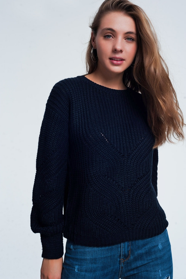 Navy blue woven sweater