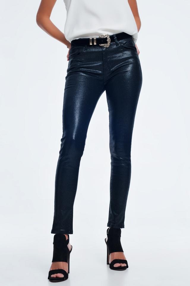 Slim leg pants in black animal print