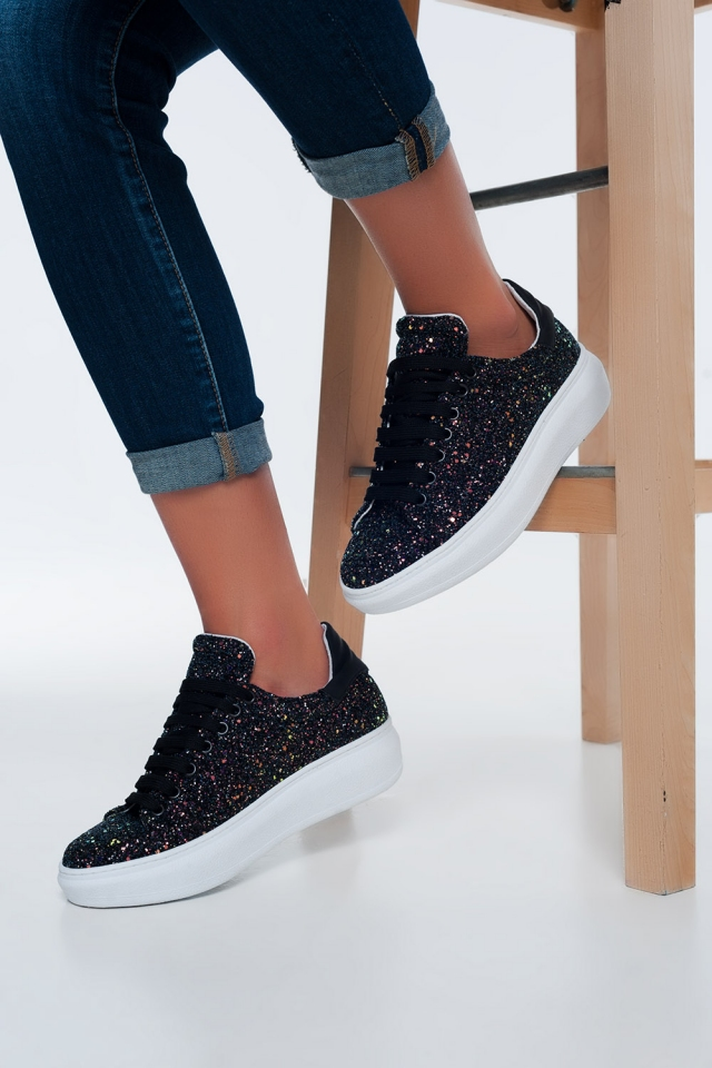 Black sequined sneakers