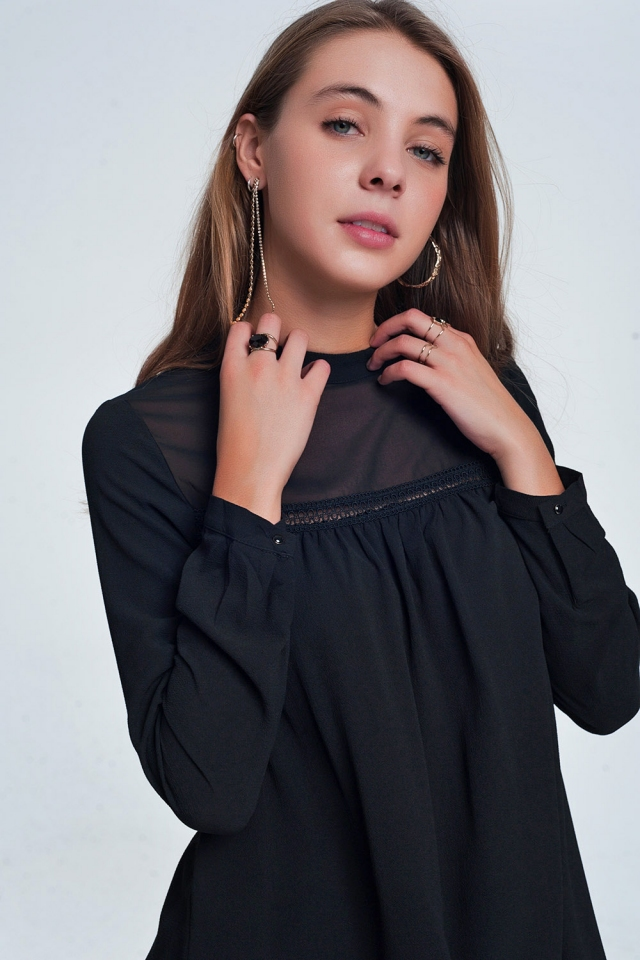 Black shirt with stripe detail