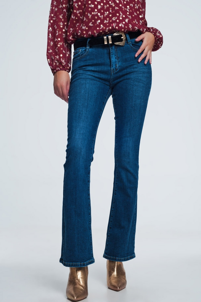 Length flare jeans in mid vintage blue wash