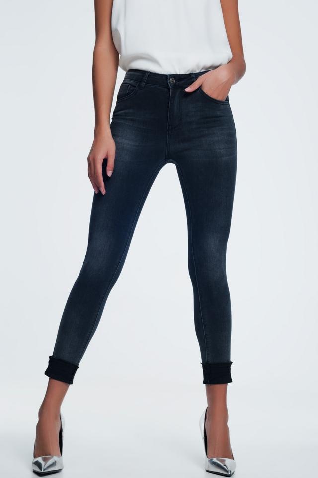 black Skinny Jean With Frayed Hem