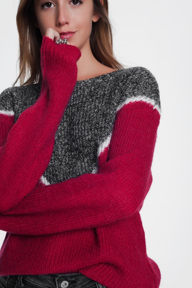 Flecked sweater in red