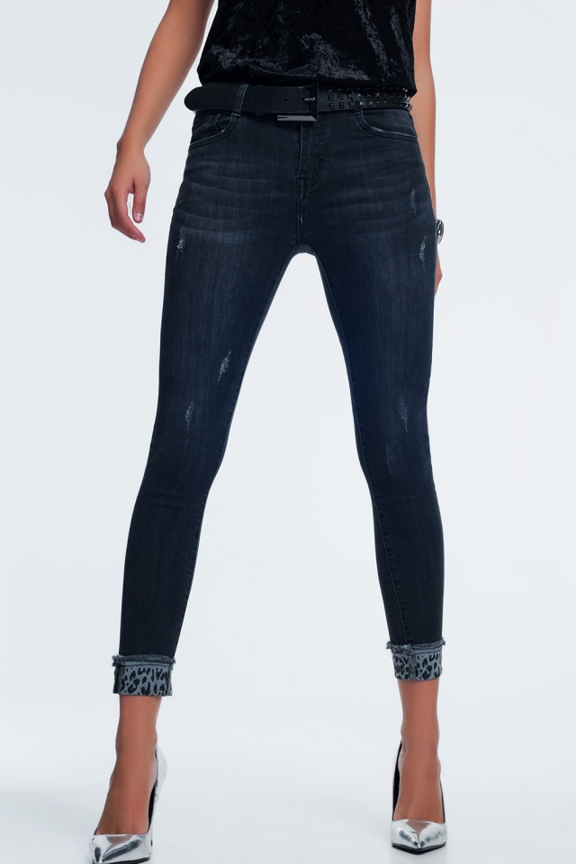 Dark grey skinny jeans with ankle detail