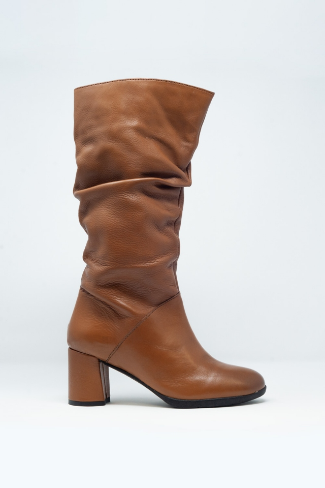 slouch calf length boot in brown