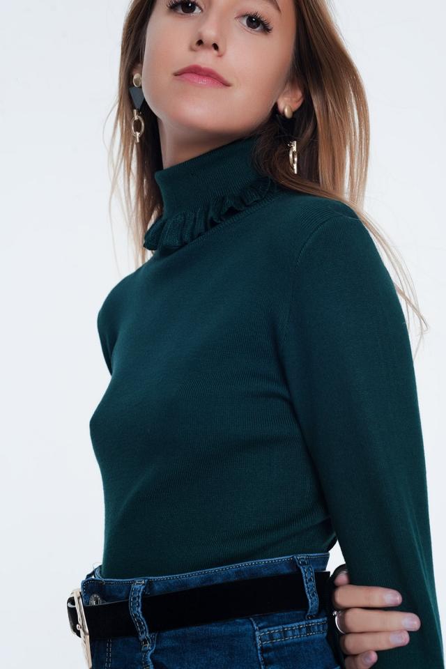 Green turtleneck sweatshirt