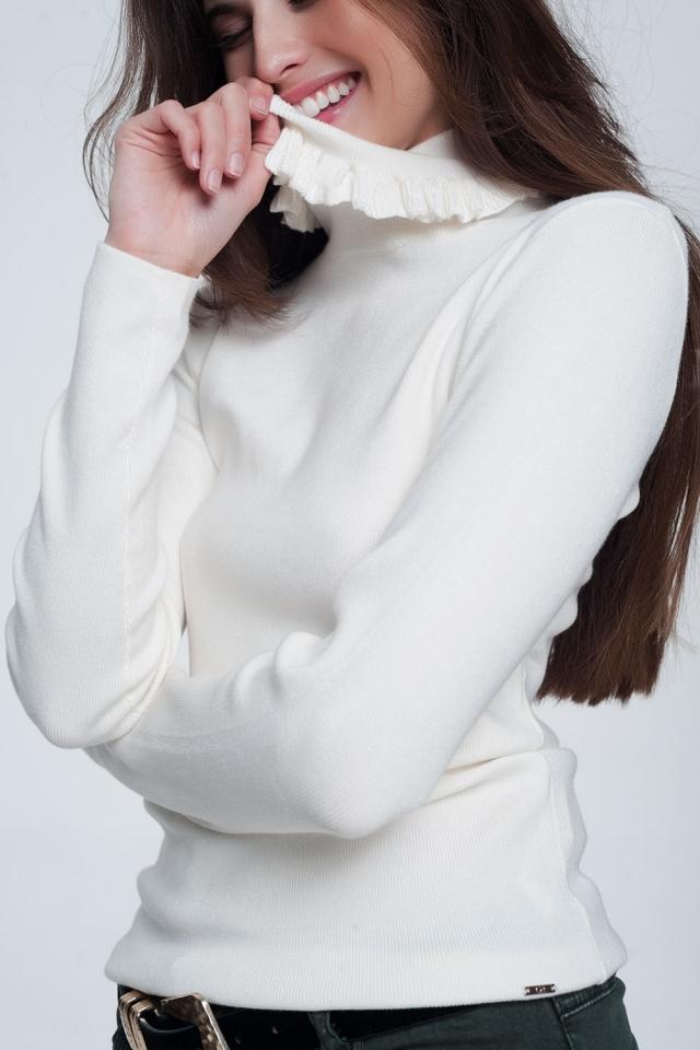 Cream turtleneck sweatshirt