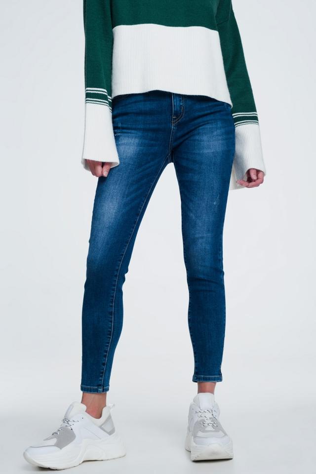 Split ankle skinny jeans