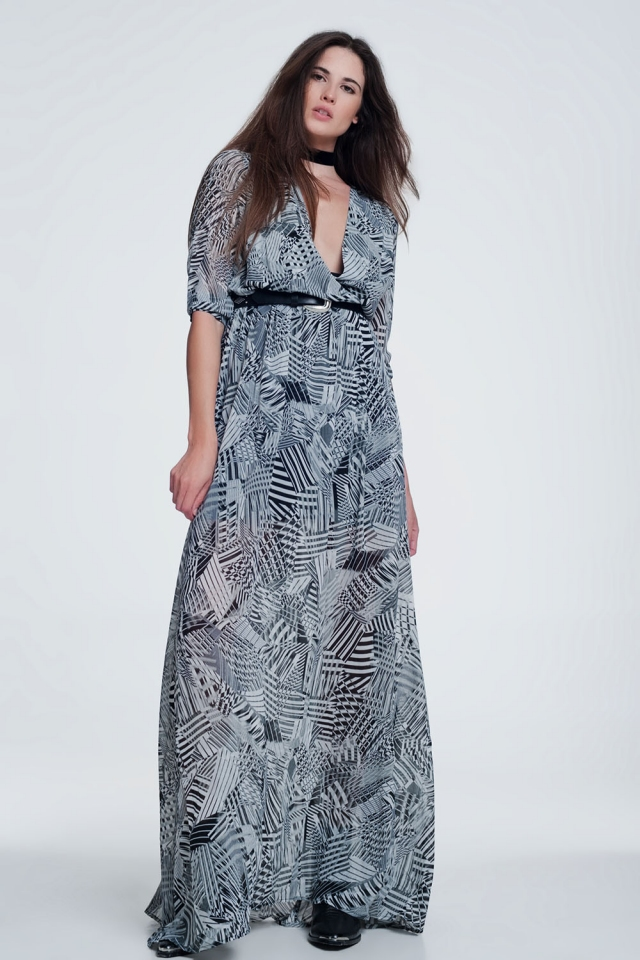 Long dress with print in grey