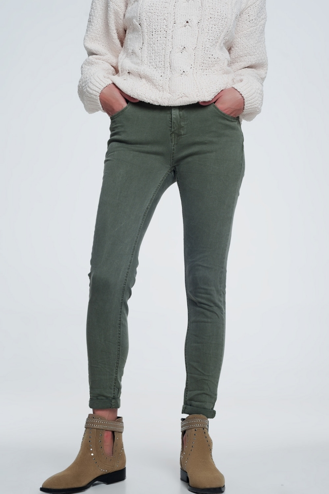 High waisted skinny jeans in green