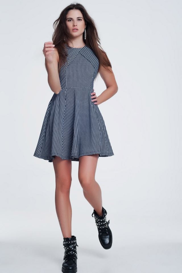 Black dress with white stripes print