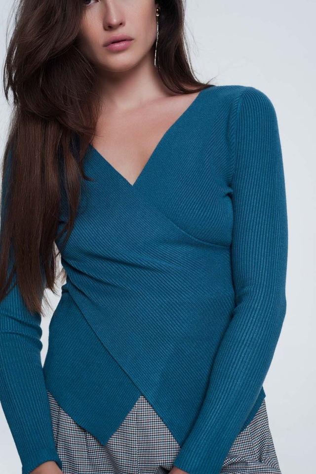 Turquoise ribbed wrap sweater with v-neck
