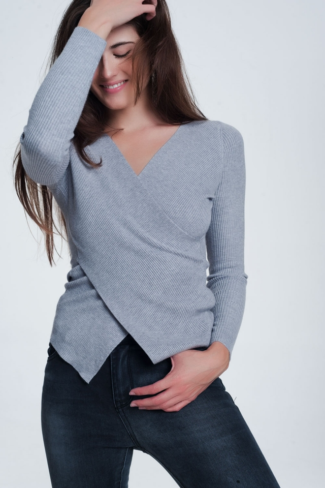 Grey ribbed wrap sweater with v-neck
