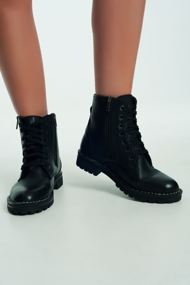 chunky military boots in black
