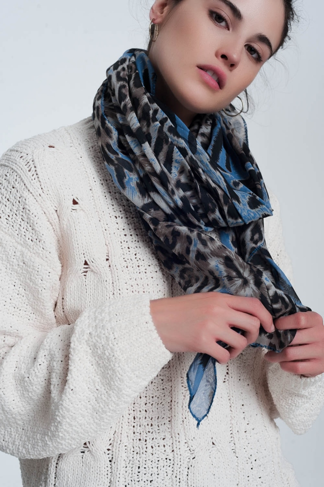 Blue scarf with tiger print