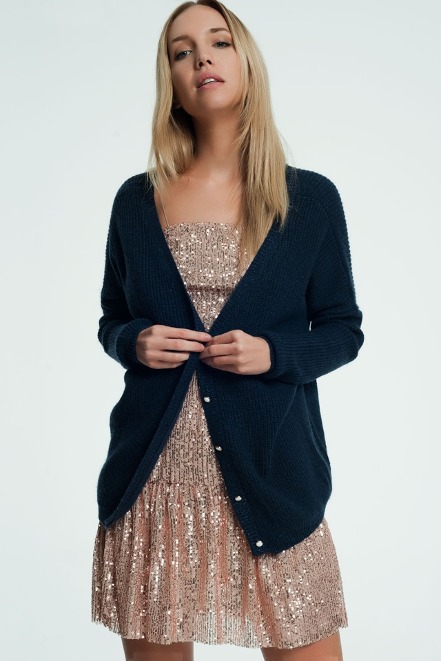 Dark blue cardigan with v-neck and buttons