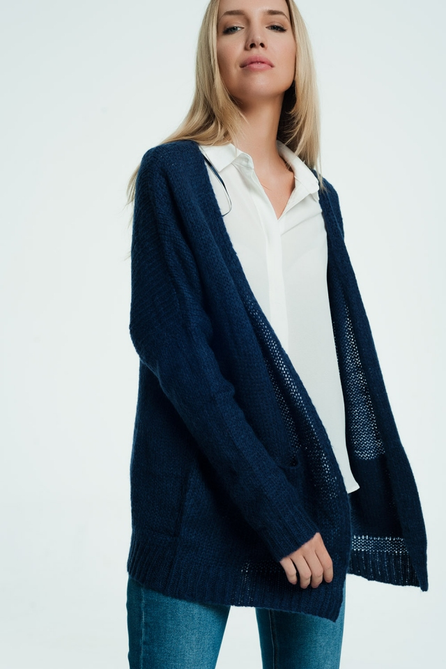 Woven cardigan in navy blue