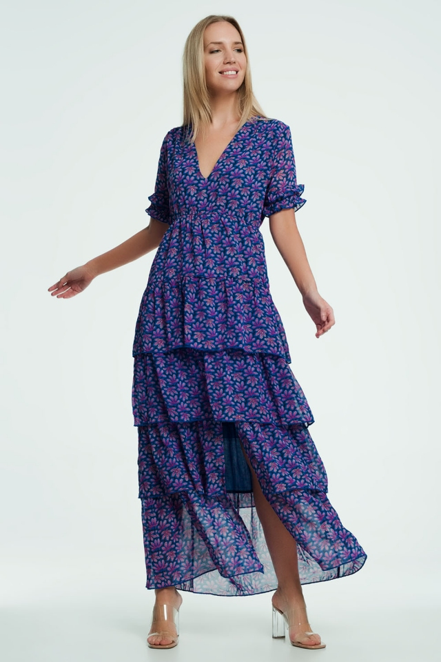 Purple Tiered Maxi Dress