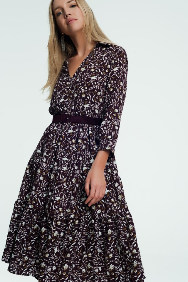 Long dress with floral print in purple