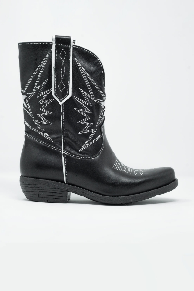 Black western knee boots with white detail