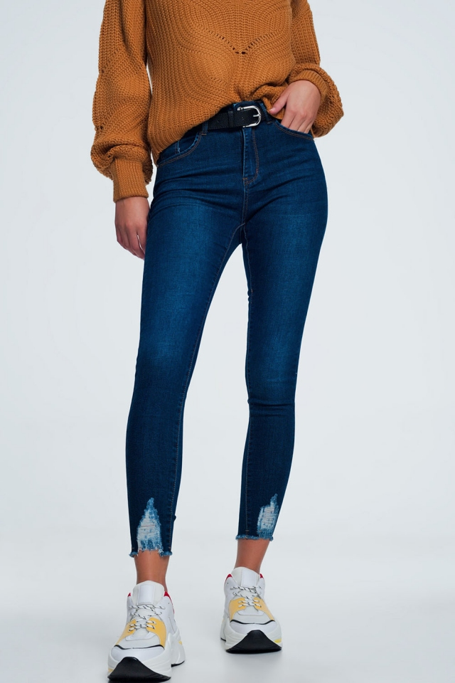 ripped skinny jean in blue