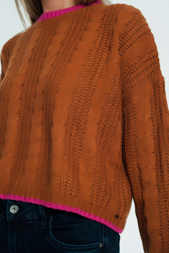 Woven sweatshirt in brown